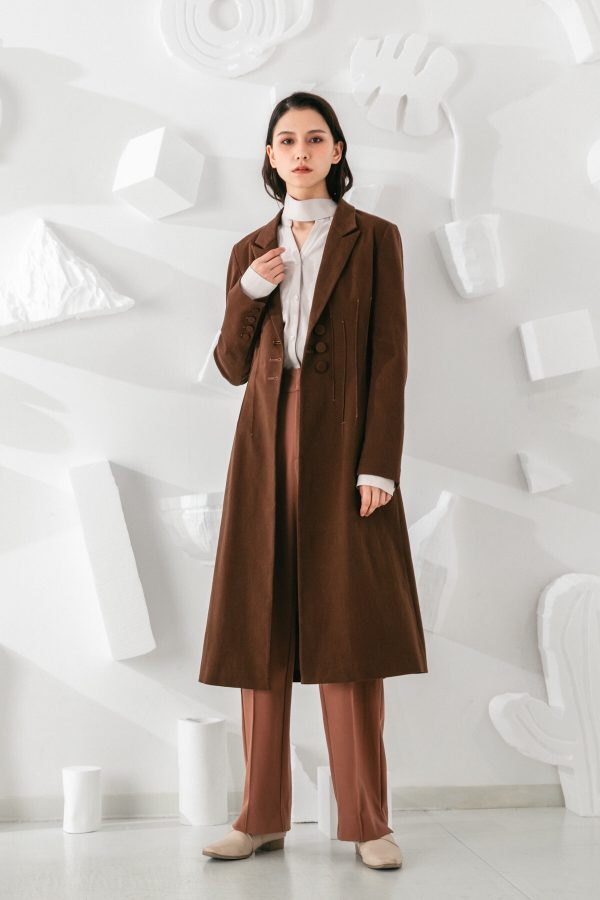 SKYE San Francisco SF shop ethical modern minimalist quality women clothing fashion Laurent Coat brown 4