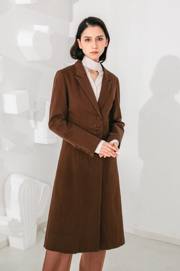 SKYE San Francisco SF shop ethical modern minimalist quality women clothing fashion Laurent Coat brown 5