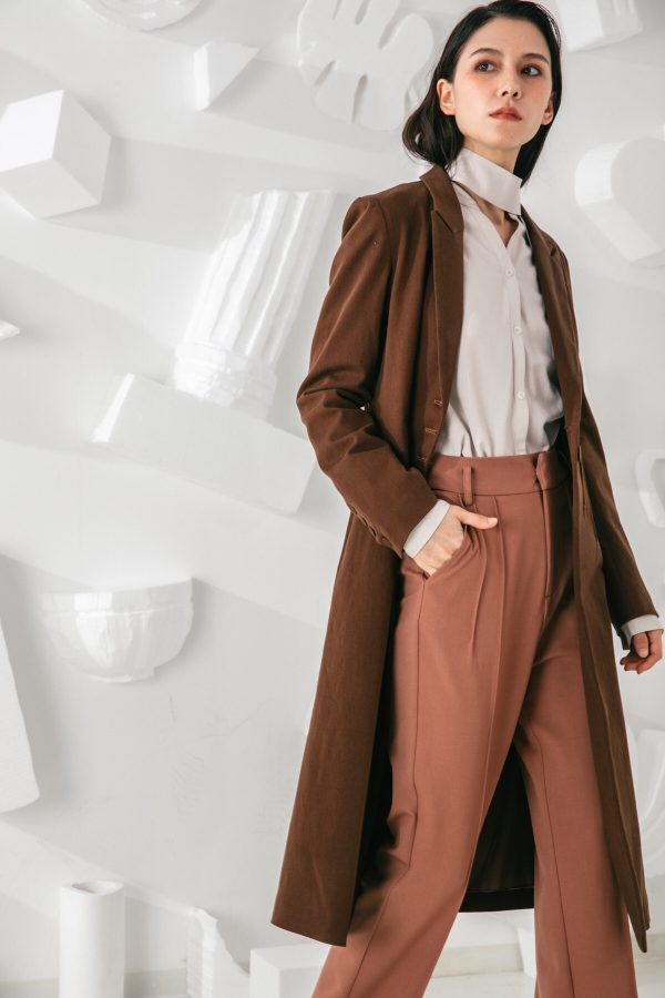 SKYE San Francisco SF shop ethical modern minimalist quality women clothing fashion Laurent Coat brown