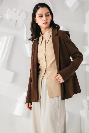 SKYE San Francisco SF shop ethical modern minimalist quality women clothing fashion Marcel Blazer brown 6