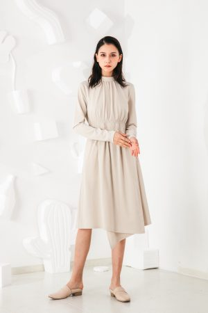 SKYE San Francisco SF shop ethical modern minimalist quality women clothing fashion Mirabelle Dress light beige