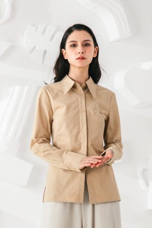 SKYE San Francisco SF shop ethical modern minimalist quality women clothing fashion Audrey Shirt beige