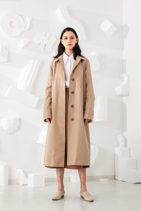 SKYE San Francisco SF shop ethical modern minimalist quality women clothing fashion Coraline Trench Coat beige 2
