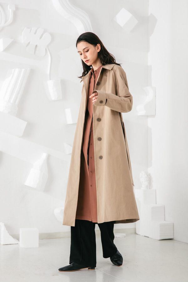 SKYE San Francisco SF shop ethical modern minimalist quality women clothing fashion Coraline Trench Coat beige 4