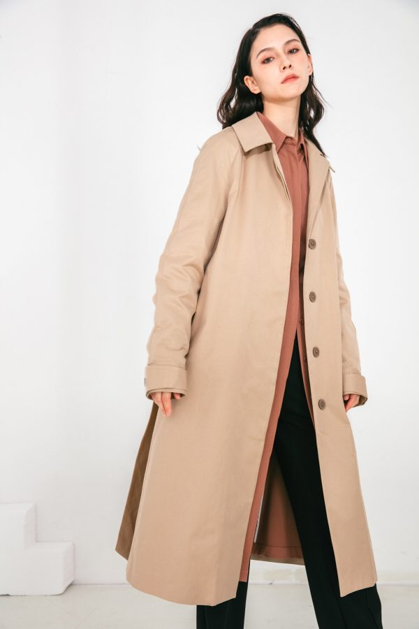 SKYE San Francisco SF shop ethical modern minimalist quality women clothing fashion Coraline Trench Coat beige 5