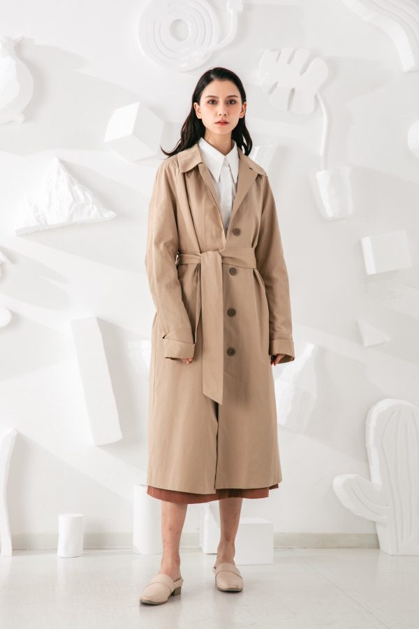 SKYE San Francisco SF shop ethical modern minimalist quality women clothing fashion Coraline Trench Coat beige 6