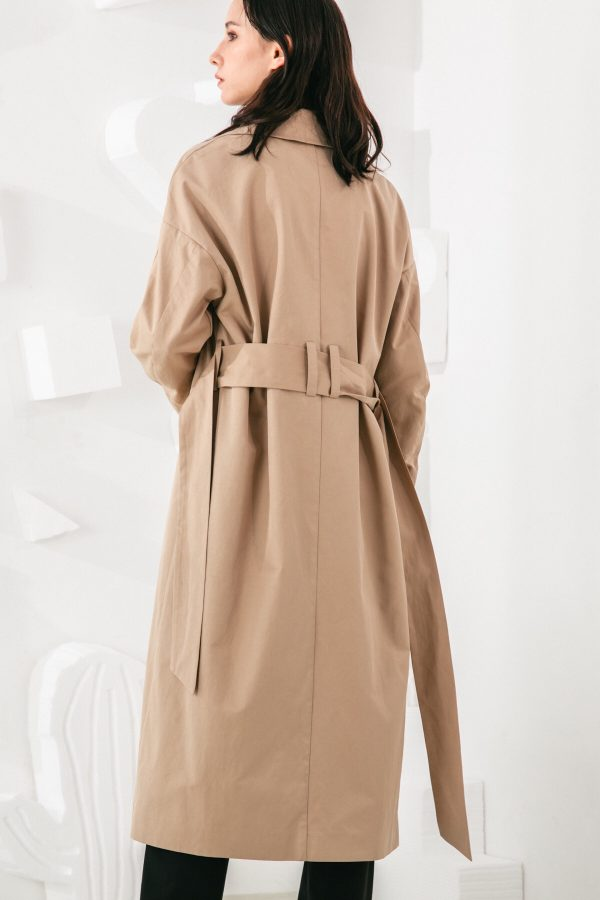 SKYE San Francisco SF shop ethical modern minimalist quality women clothing fashion Coraline Trench Coat beige