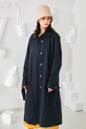 SKYE San Francisco SF shop ethical modern minimalist quality women clothing fashion Coraline Trench Coat blue 2