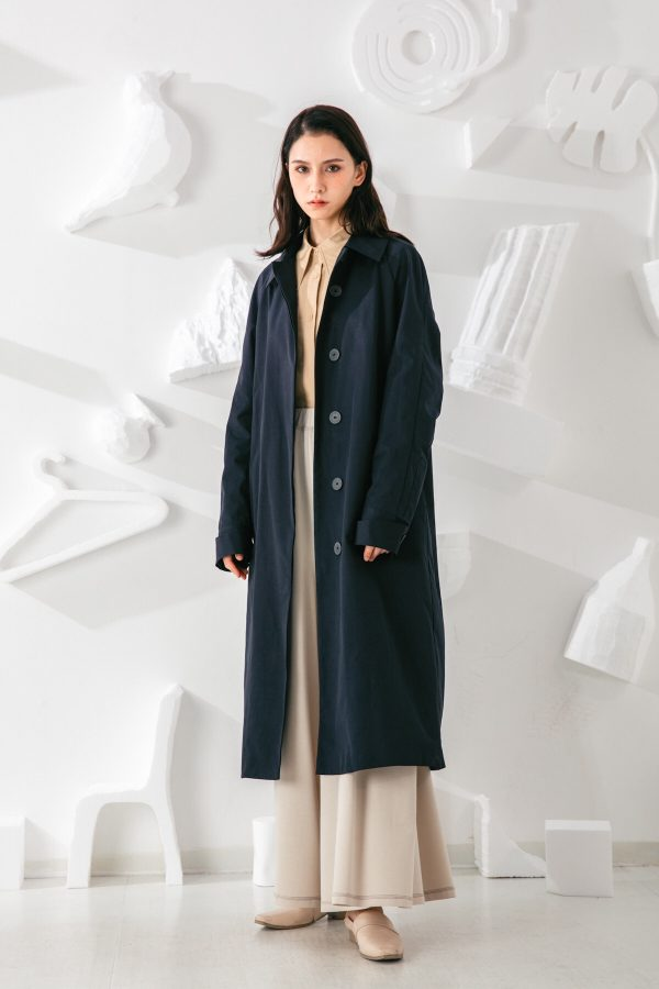 SKYE San Francisco SF shop ethical modern minimalist quality women clothing fashion Coraline Trench Coat blue 3