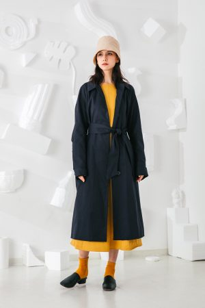 SKYE San Francisco SF shop ethical modern minimalist quality women clothing fashion Coraline Trench Coat blue