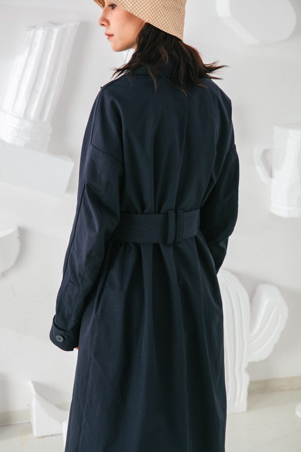 SKYE San Francisco SF shop ethical modern minimalist quality women clothing fashion Coraline Trench Coat blue 4