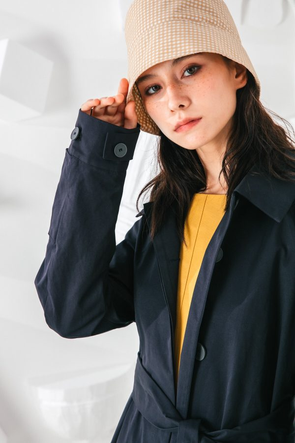 SKYE San Francisco SF shop ethical modern minimalist quality women clothing fashion Coraline Trench Coat blue 6
