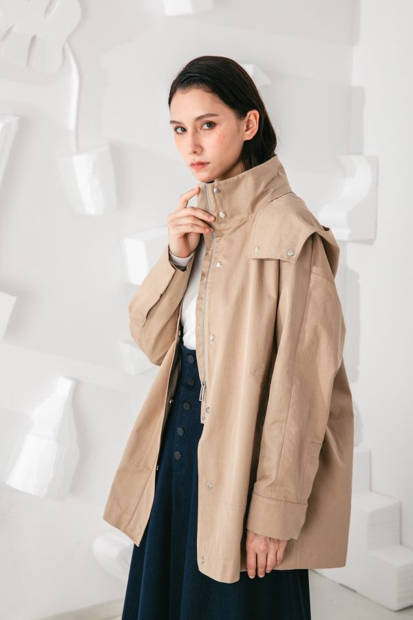 SKYE San Francisco SF shop ethical modern minimalist quality women clothing fashion Gabrielle Coat beige 3