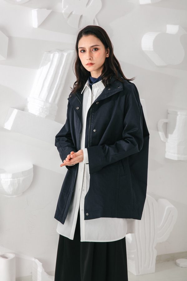 SKYE San Francisco SF shop ethical modern minimalist quality women clothing fashion Gabrielle Coat blue 4
