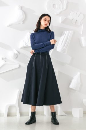 SKYE San Francisco SF shop ethical modern minimalist quality women clothing fashion Jeanne Midi Skirt blue 6