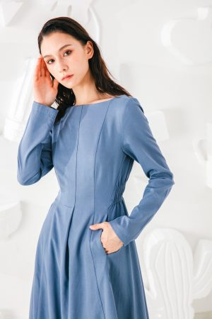 SKYE San Francisco SF shop ethical modern minimalist quality women clothing fashion Madeleine Dress blue 2