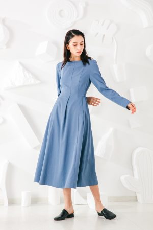 SKYE San Francisco SF shop ethical modern minimalist quality women clothing fashion Madeleine Dress blue 4