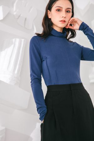 SKYE San Francisco SF shop ethical sustainable modern minimalist quality women clothing fashion Noémie Top turtleneck blue