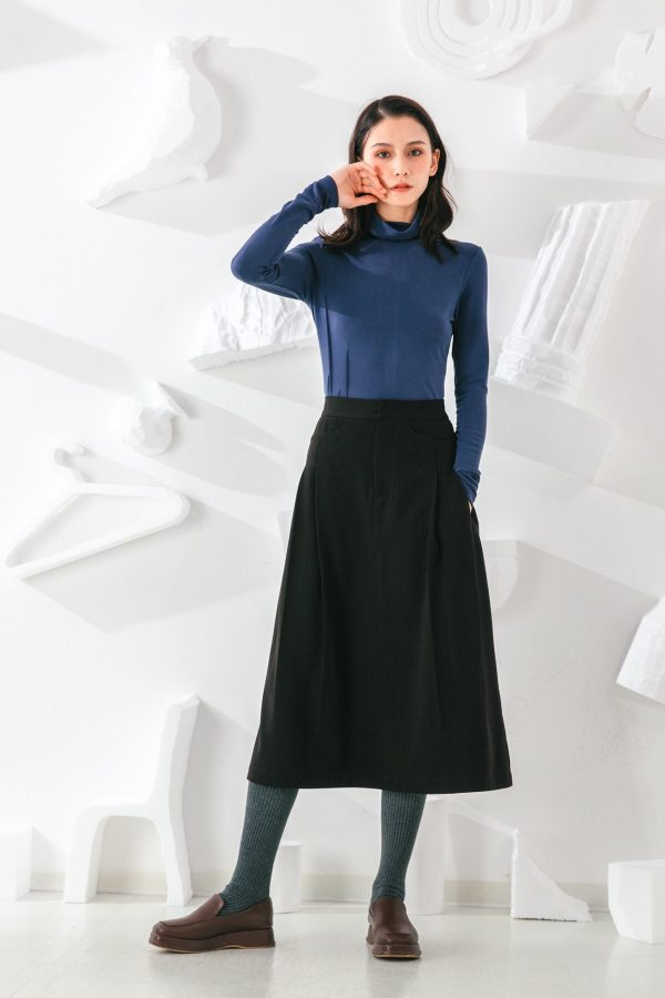 SKYE San Francisco SF shop ethical sustainable modern minimalist quality women clothing fashion Noémie Top turtleneck blue 4