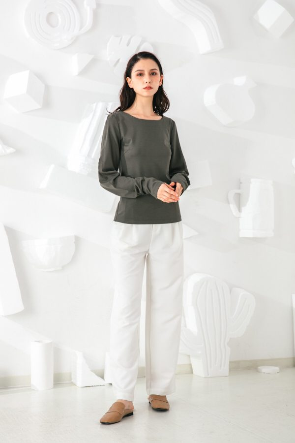 SKYE San Francisco SF shop ethical sustainable modern minimalist quality women clothing fashion Slyvie Top dark green 3
