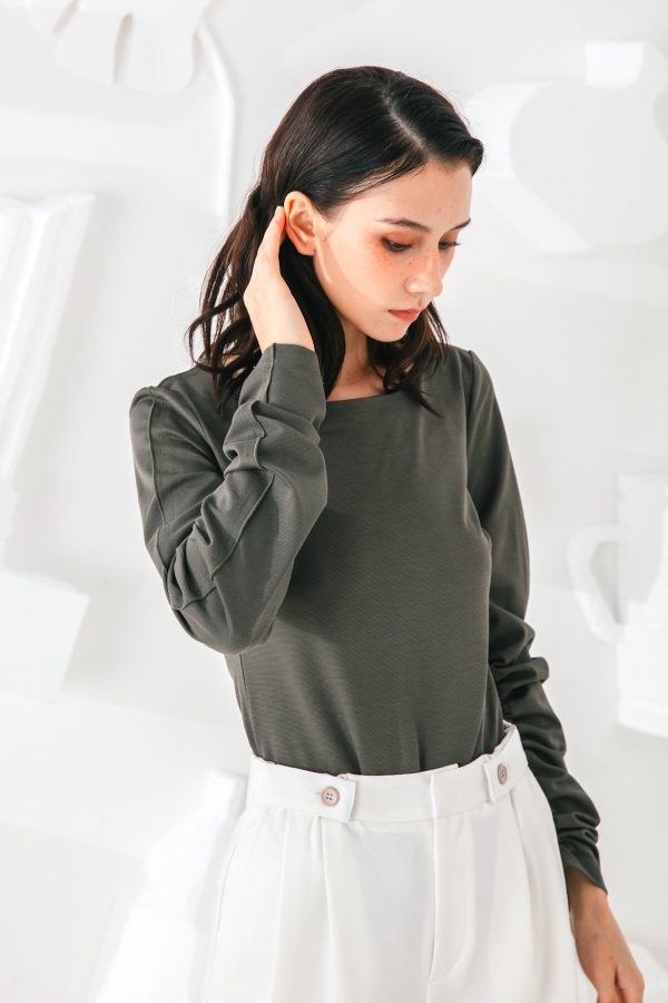 SKYE San Francisco SF shop ethical sustainable modern minimalist quality women clothing fashion Slyvie Top dark green 4