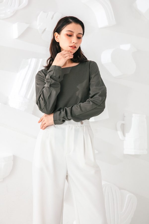 SKYE San Francisco SF shop ethical sustainable modern minimalist quality women clothing fashion Slyvie Top dark green