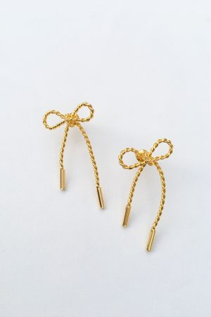 SKYE San Francisco SF California shop ethical sustainable modern minimalist quality women jewelry Luis 18K Gold Bow Earrings 3