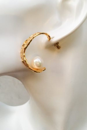 SKYE San Francisco SF California shop ethical sustainable modern minimalist quality women jewelry Margo 18K Gold Pearl Hoop Earrings 5