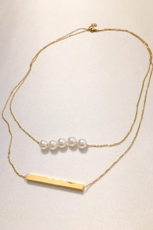 SKYE San Francisco SF ethical sustainable modern minimalist women fashion accessories Abbé 18K Gold Pearl Layered Necklace