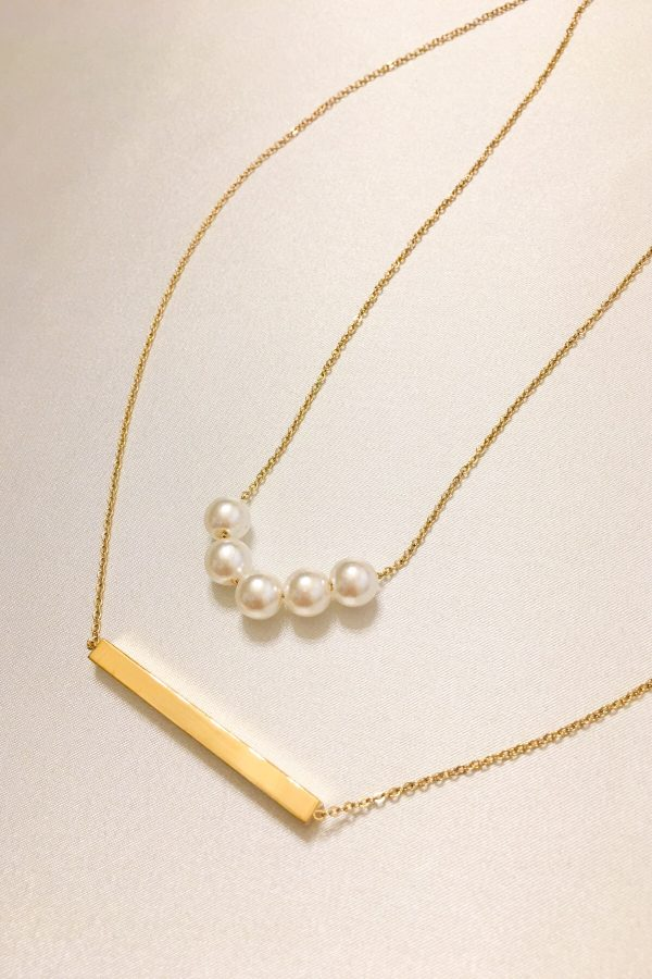 SKYE San Francisco SF ethical sustainable modern minimalist women fashion accessories Abbé 18K Gold Pearl Layered Necklace 4
