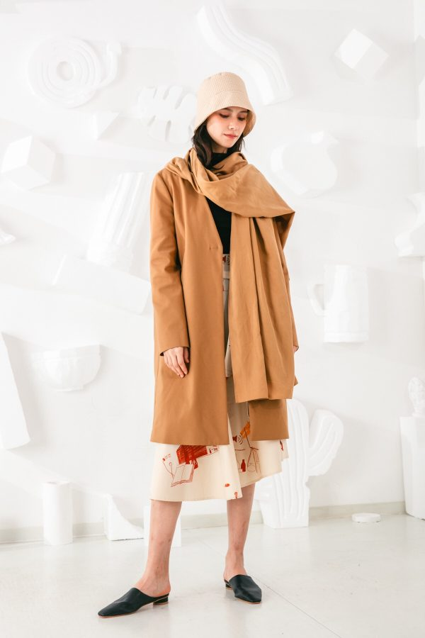 SKYE San Francisco SF shop ethical sustainable modern minimalist elegant quality women clothing fashion brand Fayette Insulated Scarf Coat 2