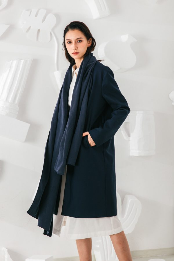 SKYE San Francisco SF shop ethical sustainable modern minimalist elegant quality women clothing fashion brand Fayette Insulated Scarf Coat blue 2