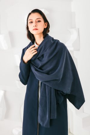SKYE San Francisco SF shop ethical sustainable modern minimalist elegant quality women clothing fashion brand Fayette Insulated Scarf Coat blue