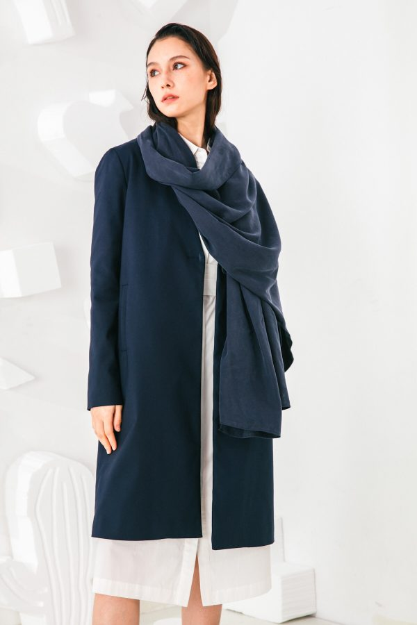 SKYE San Francisco SF shop ethical sustainable modern minimalist elegant quality women clothing fashion brand Fayette Insulated Scarf Coat blue 5
