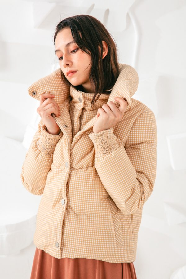 SKYE San Francisco SF shop ethical sustainable modern minimalist elegant quality women clothing fashion brand Giselle Down Puffer Jacket Light Beige 4