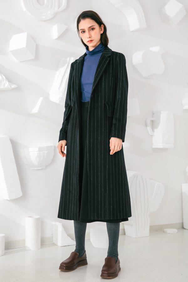 SKYE San Francisco SF shop ethical sustainable modern minimalist elegant quality women clothing fashion brand Oscar Long Striped Wool Coat