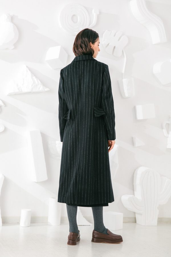SKYE San Francisco SF shop ethical sustainable modern minimalist elegant quality women clothing fashion brand Oscar Long Striped Wool Coat 2