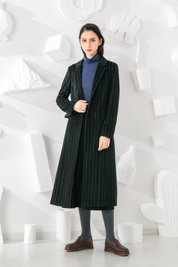SKYE San Francisco SF shop ethical sustainable modern minimalist elegant quality women clothing fashion brand Oscar Long Striped Wool Coat 3