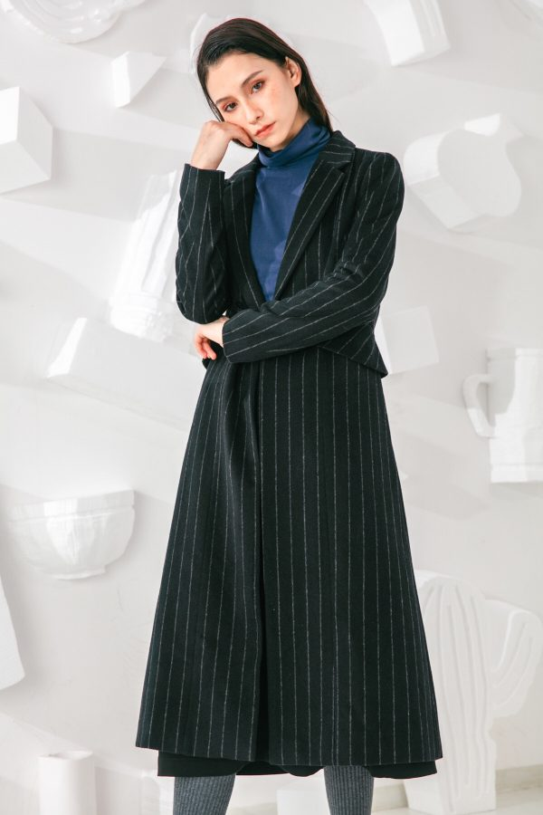 SKYE San Francisco SF shop ethical sustainable modern minimalist elegant quality women clothing fashion brand Oscar Long Striped Wool Coat 4