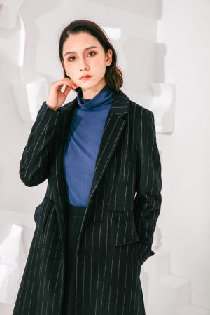 SKYE San Francisco SF shop ethical sustainable modern minimalist elegant quality women clothing fashion brand Oscar Long Striped Wool Coat 5