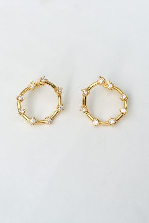 SKYE San Francisco SF California shop ethical sustainable modern minimalist quality women jewelry Leonila 18K Gold Earrings circular diamond 4