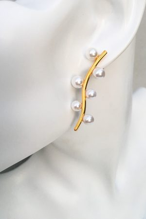 SKYE San Francisco SF California shop ethical sustainable modern minimalist quality women jewelry Pecher 18K Gold Pearl Earrings floral branch