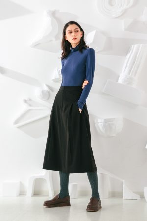 SKYE San Francisco SF shop ethical sustainable modern minimalist elegant quality women clothing fashion brand Aurelie Midi Skirt Black 3