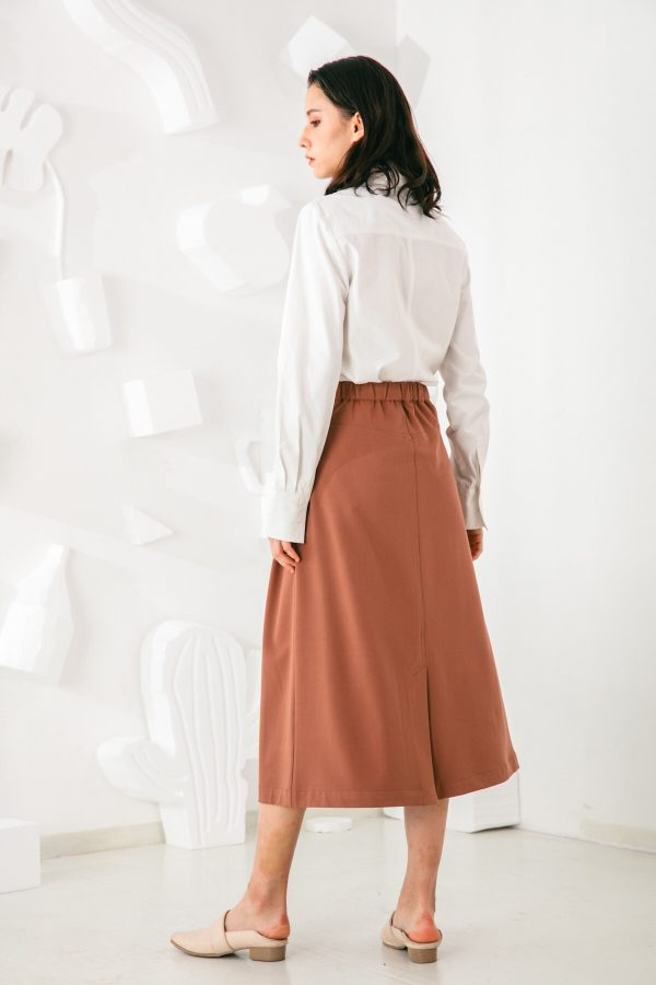 SKYE San Francisco SF shop ethical sustainable modern minimalist elegant quality women clothing fashion brand Aurelie Midi Skirt Light Brown 2