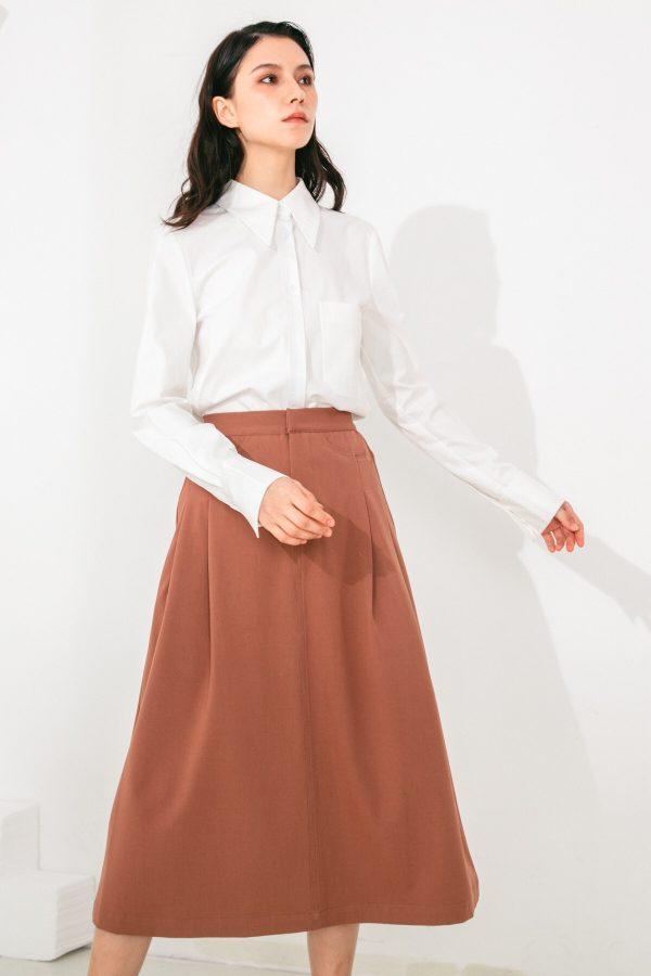 SKYE San Francisco SF shop ethical sustainable modern minimalist elegant quality women clothing fashion brand Aurelie Midi Skirt Light Brown 3