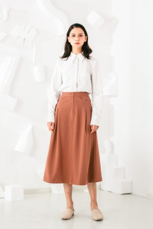 SKYE San Francisco SF shop ethical sustainable modern minimalist elegant quality women clothing fashion brand Aurelie Midi Skirt Light Brown 4