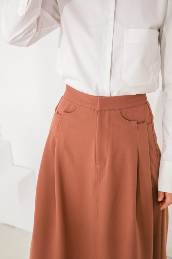 SKYE San Francisco SF shop ethical sustainable modern minimalist elegant quality women clothing fashion brand Aurelie Midi Skirt Light Brown 5