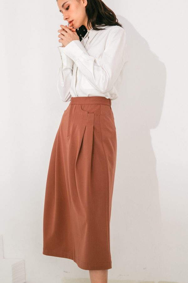 SKYE San Francisco SF shop ethical sustainable modern minimalist elegant quality women clothing fashion brand Aurelie Midi Skirt Light Brown 6