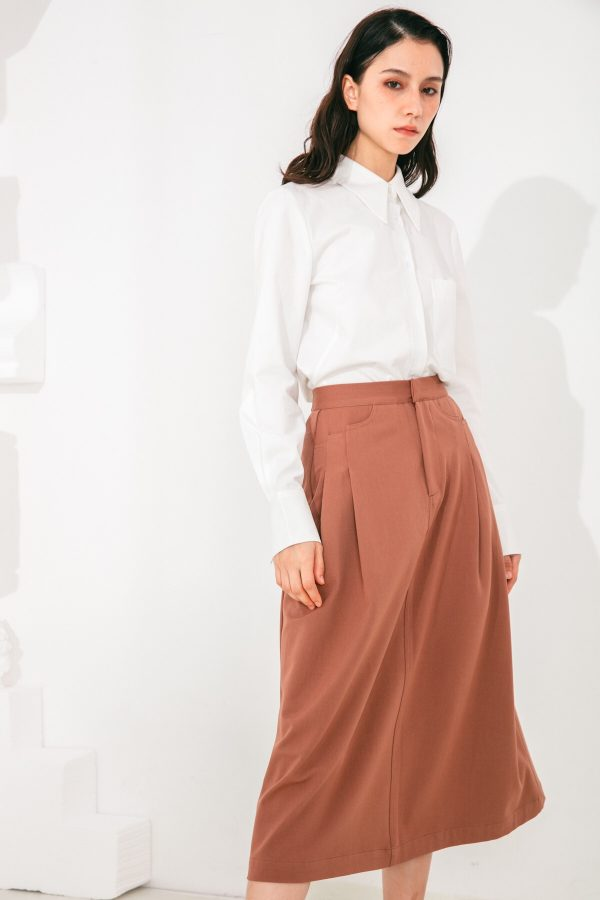 SKYE San Francisco SF shop ethical sustainable modern minimalist elegant quality women clothing fashion brand Aurelie Midi Skirt Light Brown