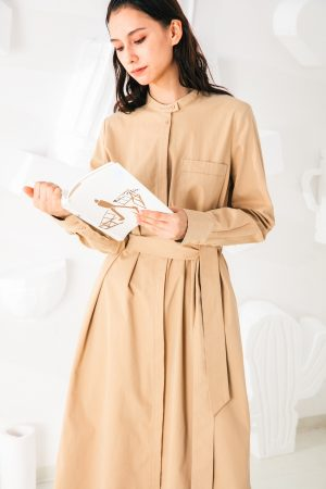 SKYE San Francisco SF shop ethical sustainable modern minimalist elegant quality women clothing fashion brand Sophie Dress Cotton Beige 4